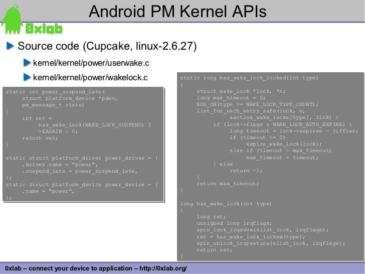 Android PM Kernel APIs     Source code (Cupcake, linux-2.6.27)          kernel/kernel/power/userwake.c          kernel/ker...
