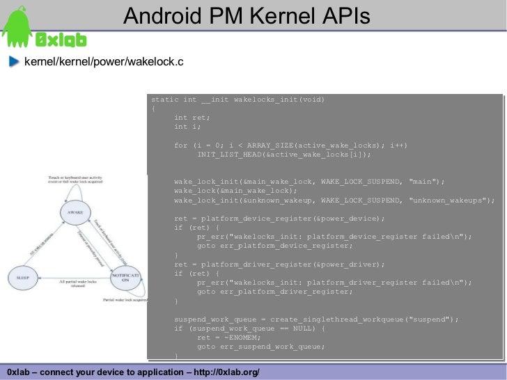 Android PM Kernel APIs     kernel/kernel/power/wakelock.c                                      static int __init wakelocks...