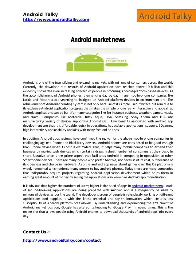 Android Talky http://www.androidtalky.com Contact Us-: http://www.androidtalky.com/contact Android market news Android is ...