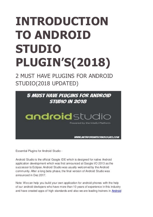 2 MUST HAVE PLUGINS FOR ANDROID STUDIO(2018 UPDATED)
