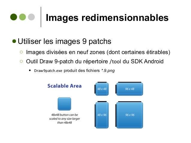 Images redimensionnables ● Utiliser les images 9 patchs Ο Images divisées en neuf zones (dont certaines étirables) Ο Outil...