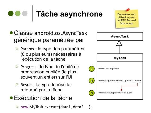 Tâche asynchrone ● Classe android.os.AsyncTask générique paramétrée par Ο Params : le type des paramètres (0 ou plusieurs)...