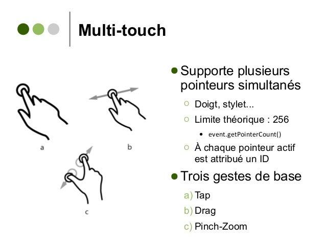 Multi-touch ● Supporte plusieurs pointeurs simultanés Ο Doigt, stylet... Ο Limite théorique : 256 ● event.getPointerCount(...