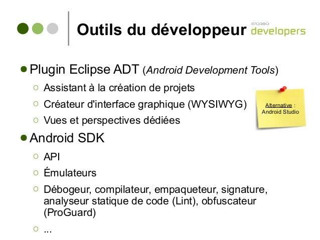 Outils du développeur ● Plugin Eclipse ADT (Android Development Tools) Ο Assistant à la création de projets Ο Créateur d'i...