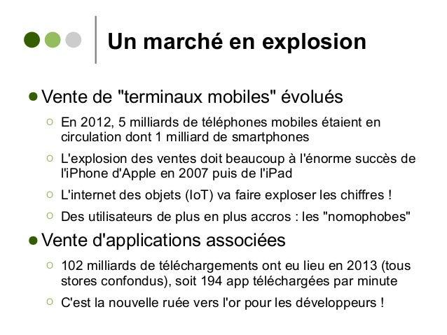 """Un marché en explosion ● Vente de """"terminaux mobiles"""" évolués Ο En 2012, 5 milliards de téléphones mobiles étaient en circ..."""