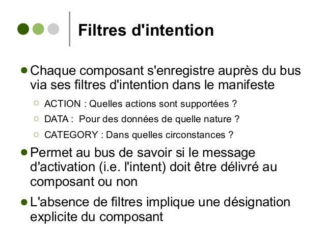 Filtres d'intention ● Chaque composant s'enregistre auprès du bus via ses filtres d'intention dans le manifeste Ο ACTION :...