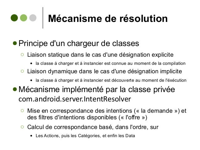 Mécanisme de résolution ● Principe d'un chargeur de classes Ο Liaison statique dans le cas d'une désignation explicite ● l...