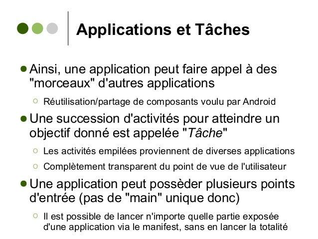 """Applications et Tâches ● Ainsi, une application peut faire appel à des """"morceaux"""" d'autres applications Ο Réutilisation/pa..."""