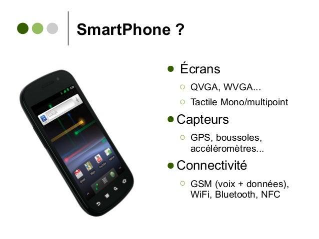 SmartPhone ? ● Écrans Ο QVGA, WVGA... Ο Tactile Mono/multipoint ● Capteurs Ο GPS, boussoles, accéléromètres... ● Connectiv...