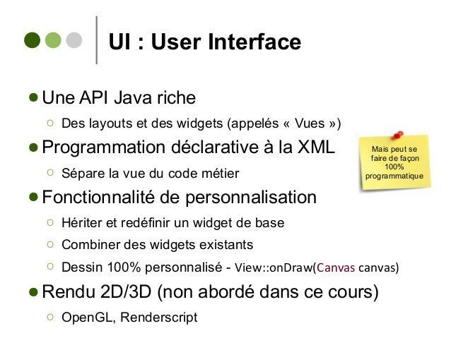 UI : User Interface ● Une API Java riche Ο Des layouts et des widgets (appelés « Vues ») ● Programmation déclarative à la ...