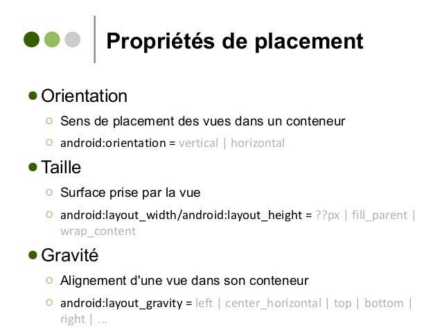 Propriétés de placement ● Orientation Ο Sens de placement des vues dans un conteneur Ο android:orientation = vertical | ho...