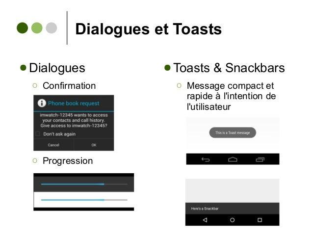 Dialogues et Toasts ● Dialogues Ο Confirmation Ο Progression ● Toasts & Snackbars Ο Message compact et rapide à l'intentio...