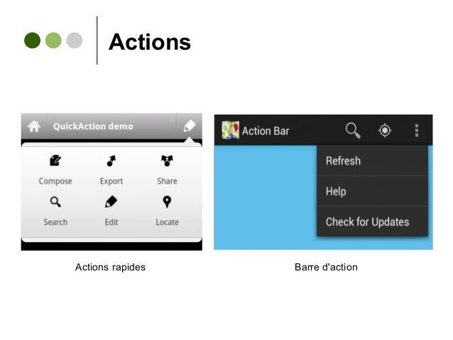 Actions Barre d'actionActions rapides
