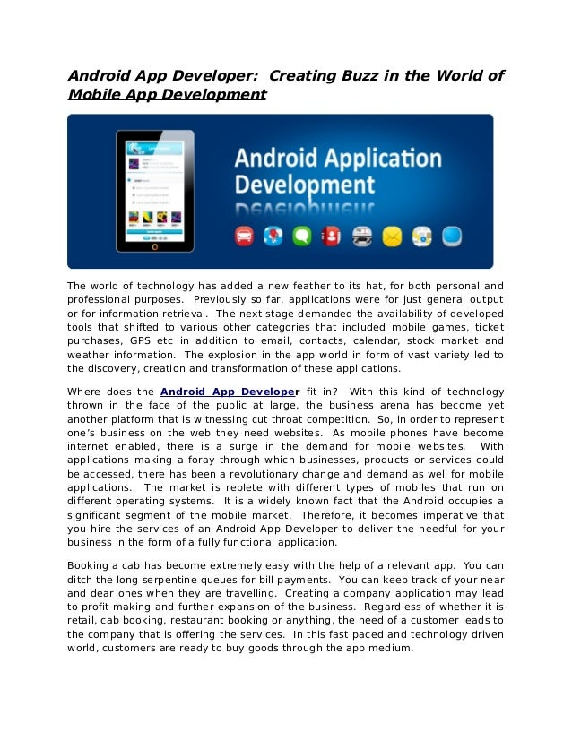 Android App Developer: Creating Buzz in the World ofMobile