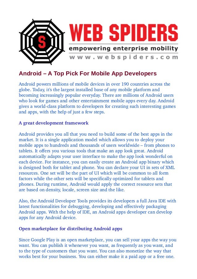 Android – A Top Pick For Mobile App Developers Androidpowersmillionsofmobiledevicesinover190countriesacrossthe...