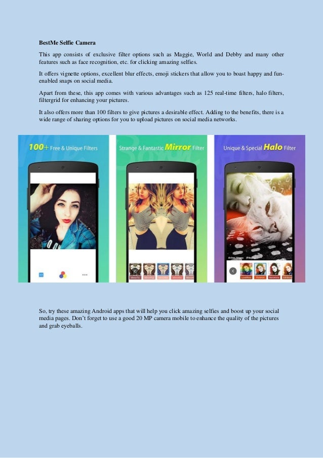 Android apps that will help you click amazing selfies