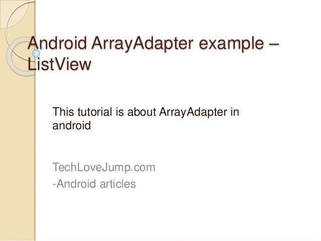 Android array adapter example