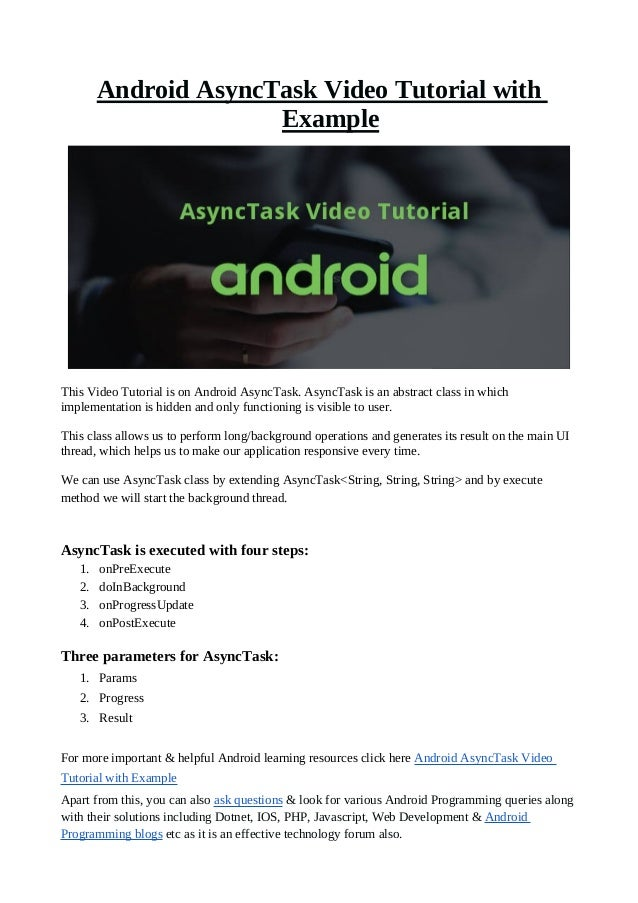 Android AsyncTask Video Tutorial with Example