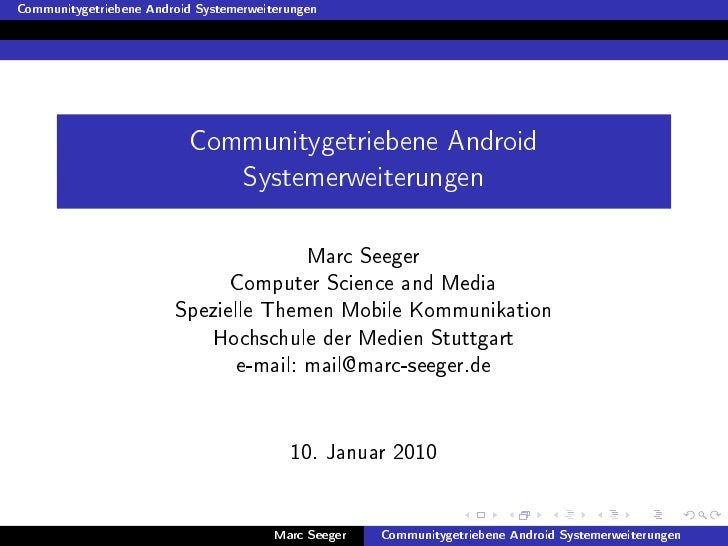 Communitygetriebene Android Systemerweiterungen                                Communitygetriebene Android                ...