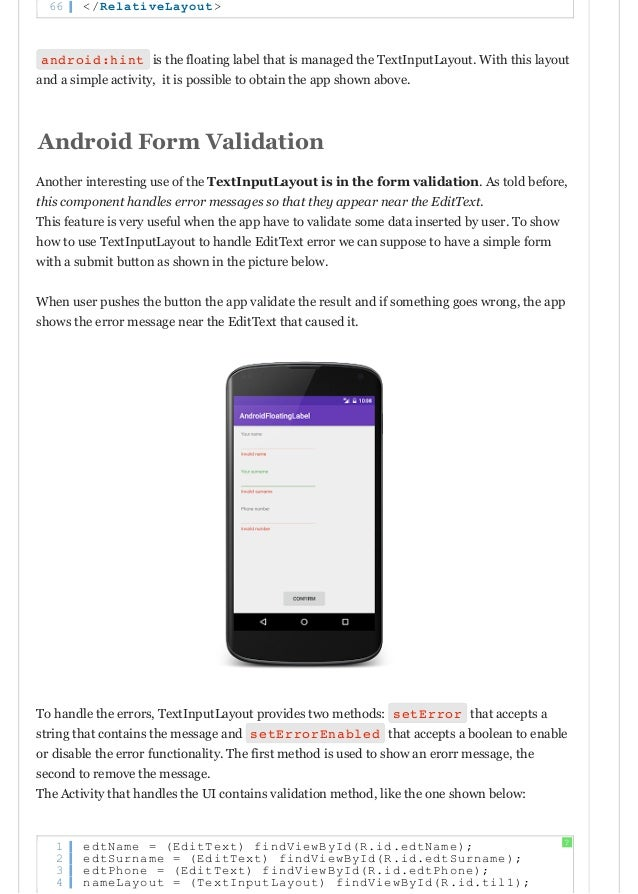 Android design support library: text inputlayout floating label