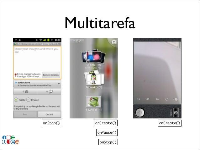Multitarefa  onStop()  onCreate() onPause() onStop()  onCreate()