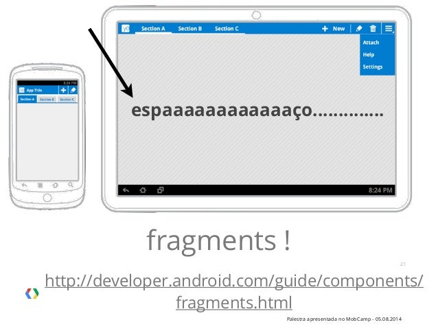 Palestra apresentada no MobCamp - 05.08.2014 21 espaaaaaaaaaaaaço.............. fragments ! http://developer.android.com/g...