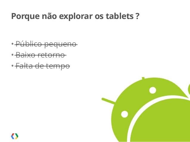 Palestra apresentada no MobCamp - 05.08.2014 Porque não explorar os tablets ? • Público pequeno • Baixo retorno • Falta de...
