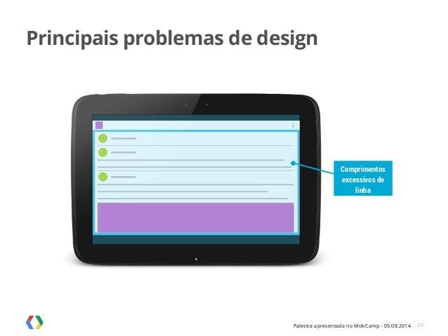 Palestra apresentada no MobCamp - 05.08.2014 30 Comprimentos excessivos de linha Principais problemas de design