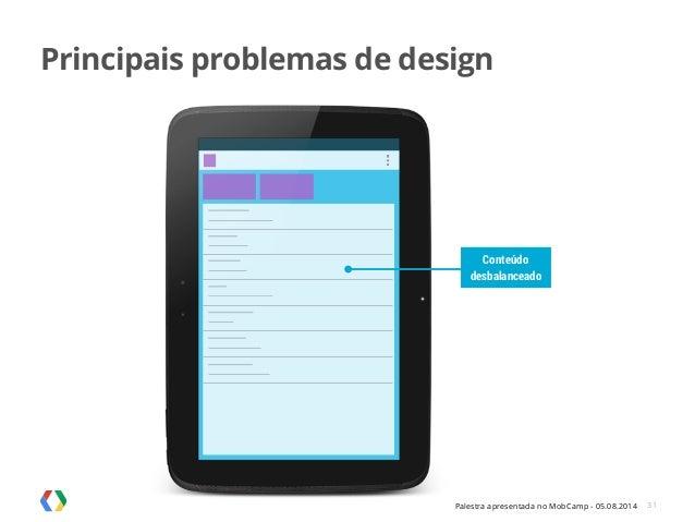 Palestra apresentada no MobCamp - 05.08.2014 31 Conteúdo desbalanceado Principais problemas de design
