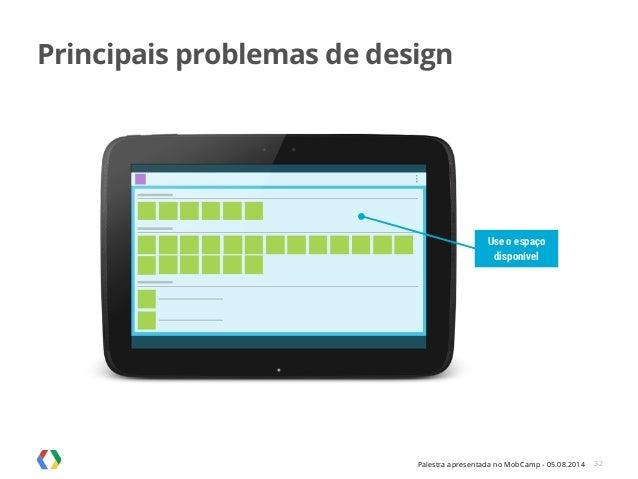 Palestra apresentada no MobCamp - 05.08.2014 32 Use o espaço disponível Principais problemas de design