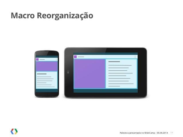 Palestra apresentada no MobCamp - 05.08.2014 34 Macro Reorganização