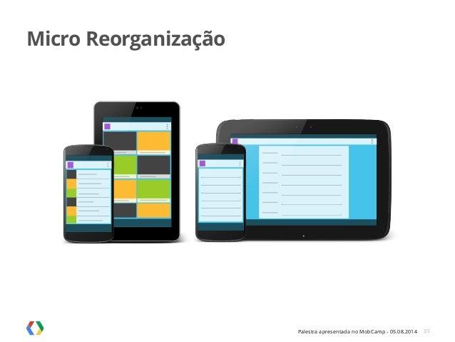 Palestra apresentada no MobCamp - 05.08.2014 35 Micro Reorganização