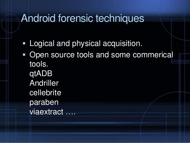 Android Forensics And Security Testing