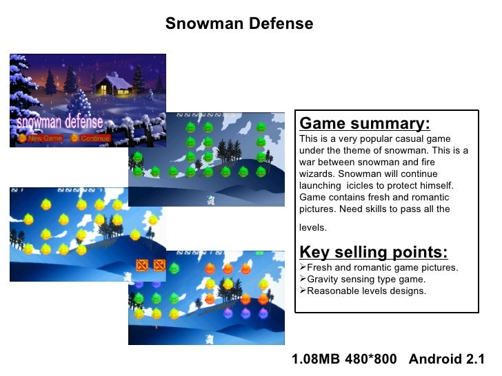 <ul><li>Game summary: </li></ul><ul><li>This is a very popular casual game under the theme of snowman. This is a war betwe...