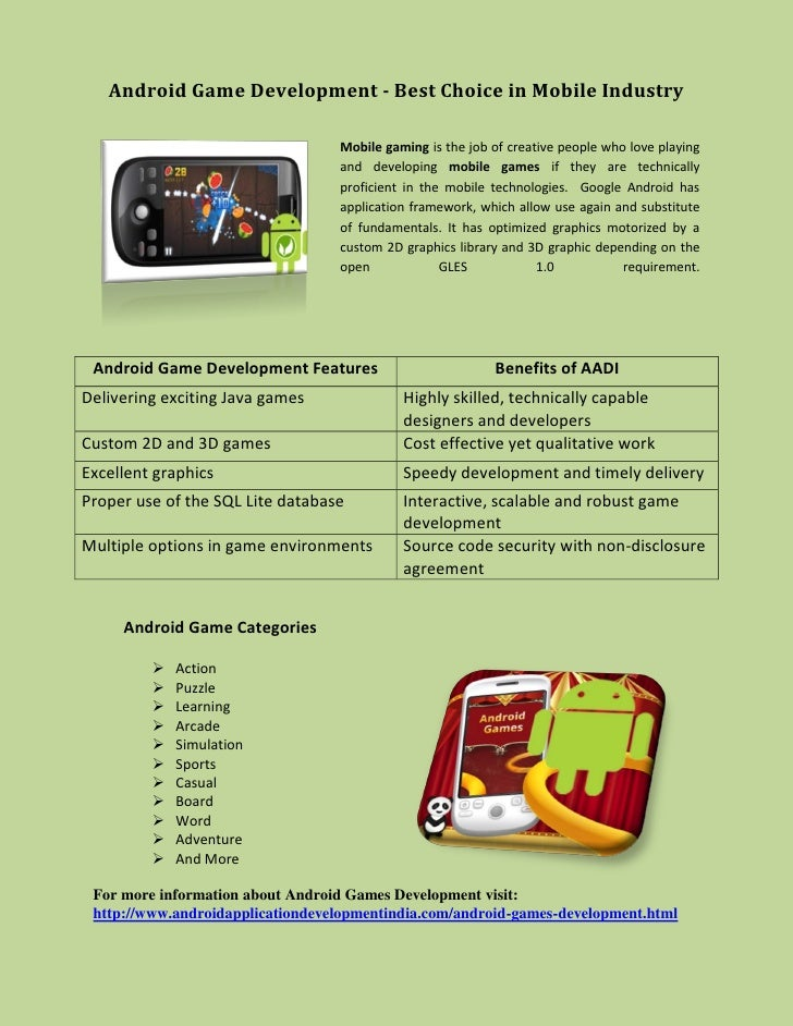 Android Game Development - Best Choice in Mobile Industry                                  Mobile gaming is the job of cre...