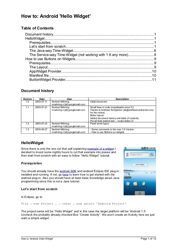 How to: Android Hello WidgetTable of Contents   Document history.............................................................