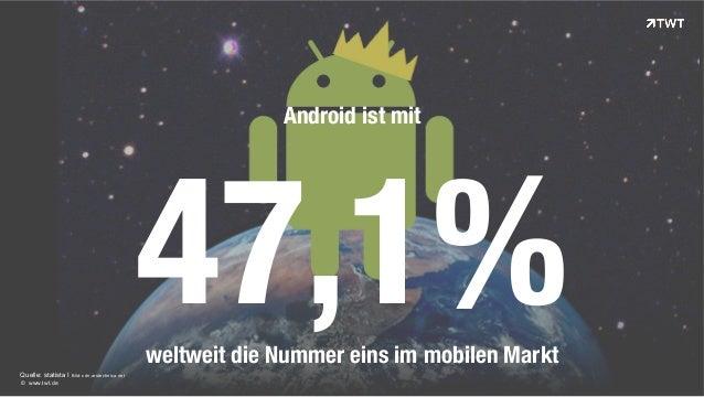 Quelle: statista I Bild: cdn.arstechnica.net  © www.twt.de  Android ist mit  47,1%  weltweit die Nummer eins im mobilen Ma...