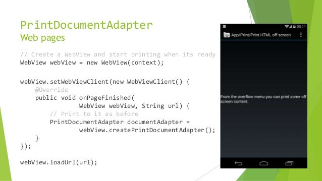 Android Kit Kat - Printing Framework