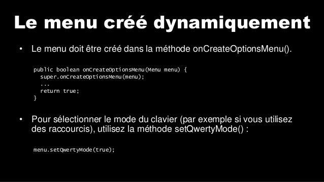 Android Lab Test : Le menu dynamique (français) Slide 3