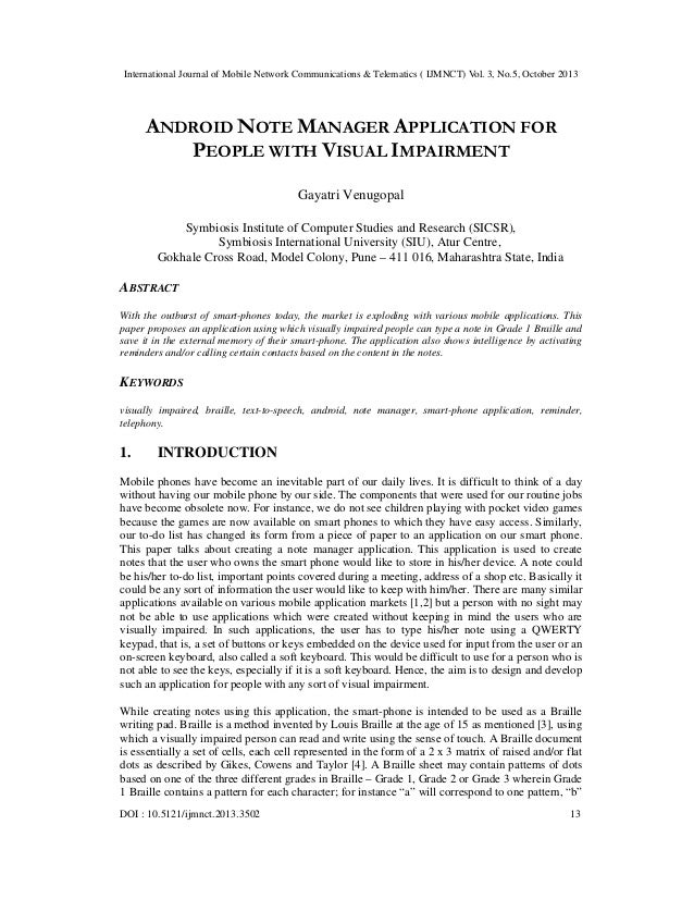 International Journal of Mobile Network Communications & Telematics ( IJMNCT) Vol. 3, No.5, October 2013  ANDROID NOTE MAN...