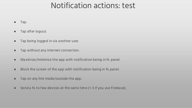 Android notifications  testing guideline