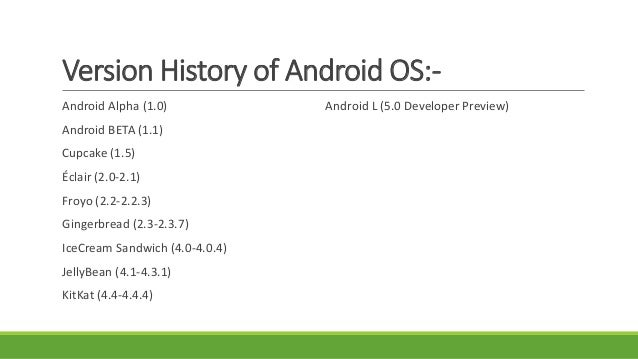 Running Versions of Android OS:-