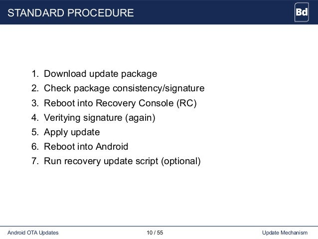 STANDARD PROCEDURE 1. Download update package 2. Check package consistency/signature 3. Reboot into Recovery Console (RC) ...
