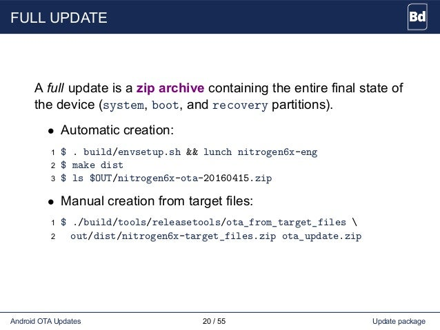 FULL UPDATE A full update is a zip archive containing the entire final state of the device (system, boot, and recovery par...