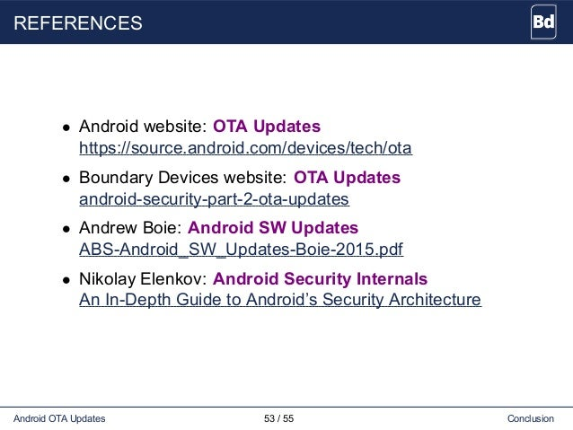 REFERENCES • Android website: OTA Updates https://source.android.com/devices/tech/ota • Boundary Devices website: OTA Upda...