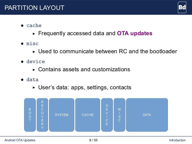 PARTITION LAYOUT • cache Frequently accessed data and OTA updates • misc Used to communicate between RC and the bootloader...