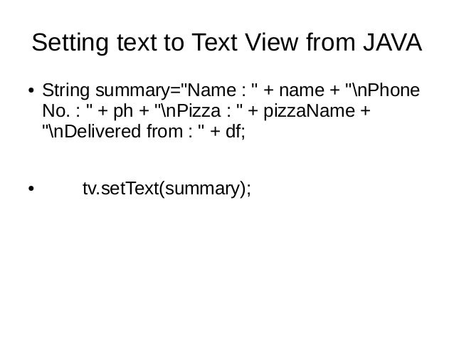 Android Programming Basics - Simple Pizza Delivery Application
