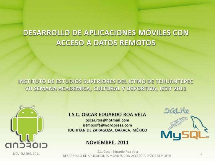 I.S.C. Oscar Eduardo Roa VelaNOVIEMBRE, 2011                                                                   1          ...