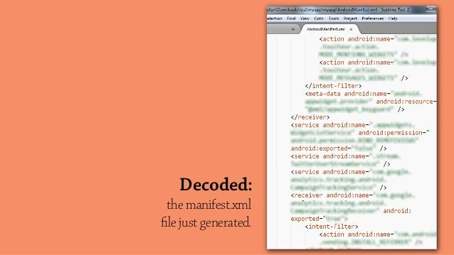 the manifest.xml file just generated. Decoded: