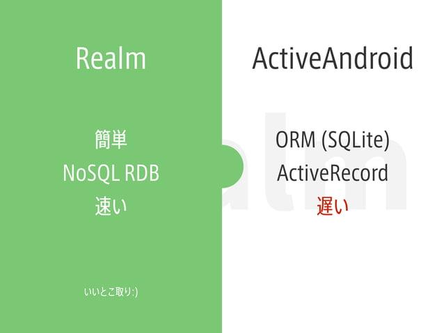 Realm Realm ActiveAndroid ORM (SQLite) ActiveRecord 遅い 簡単 NoSQL RDB 速い いいとこ取り:)